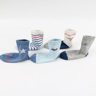 猫人男童棉袜中大童四季款袜子条纹学生卡通中筒袜5双装3-12岁 混色5双装(021) M(4-7岁)