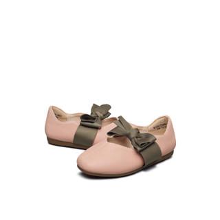意尔康童鞋2019春新款女童小皮鞋甜美公主鞋学生儿童单鞋女童鞋子ECZ9123646 粉色 33