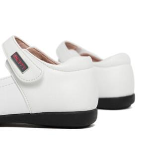 斯纳菲女童皮鞋 儿童真皮黑色公主鞋女孩单鞋新款小皮鞋18848白色26