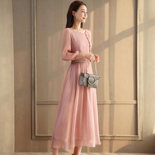 一塘晨春装新款女纯色圆领韩版七分袖气质简约绣花收腰长款连衣裙 S81R0358LA26M  粉色 M