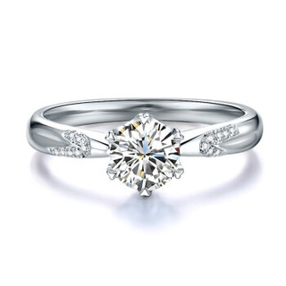 鸣钻国际 挚爱 白18k金钻戒女款 共约30分钻石戒指结婚求婚女戒 钻石对戒女款 F-G/SI 11号
