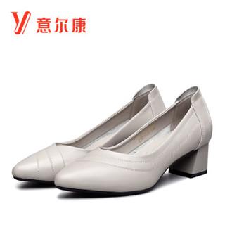 YEARCON 意尔康 女士尖头粗跟百搭纯色通勤高跟单鞋 9151DA26062W 浅灰 38
