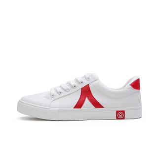 人本 舒适帆布小白鞋男女百搭韩版学生潮 rb77302019 白红 男款39