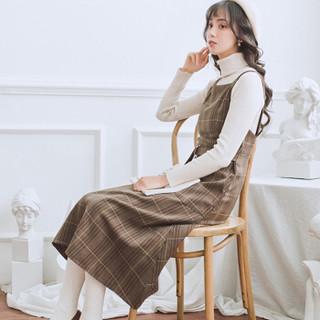 俞兆林 2019春季新款文艺复古格子背带裙学院风中长款无袖连衣裙 YWQZ191452 深棕色 M