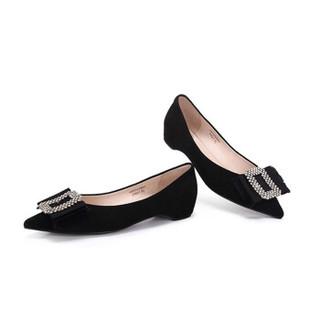骆驼 A91042643 女士 轻熟温婉水钻尖头浅口单鞋 A91042643 黑色 35