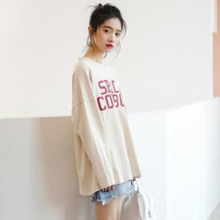 俞兆林 2019春季新款女装韩版宽松字母印花打底衫百搭圆领长袖T恤 YWTC191402 杏色 均码