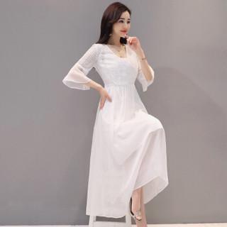 丝柏舍2019春装新款女装时尚纯色七分荷叶袖长款气质修身连衣裙 S81R0987LA7L 白色 L