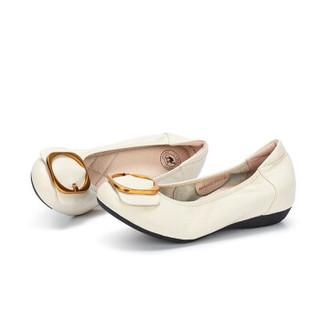 CAMEL 骆驼 女士 休闲通勤牛皮方扣圆头单鞋 A91521632 白色 36