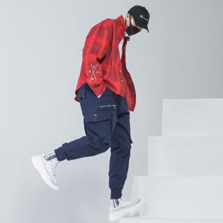 富贵鸟(FUGUINIAO)工装裤男嘻哈裤宽松束脚裤男韩版潮流个性街头小脚裤子 蓝色 4XL