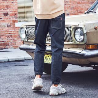 森马semir旗下品牌爱肯Aiken2019春季男装束脚慢跑牛仔长裤AK119201201牛仔深蓝XL