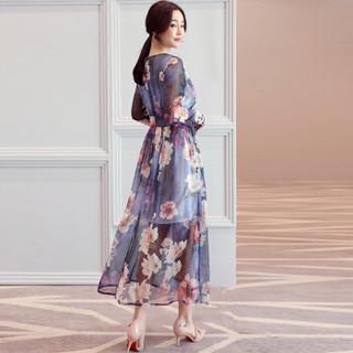 一塘晨春装女2019新款圆领长袖印花修身显瘦气质中长款连衣裙 S81R0159LA28M 花色 M