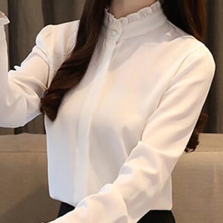 朗悦女装 2019春季新款长袖衬衫女学生白衬衫韩版气质雪纺衫上衣 LWCC191172 白色 L