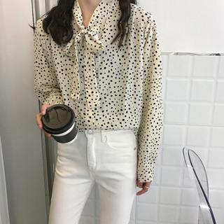 朗悦女装 复古波点长袖衬衫女2019春季新款韩版气质衬衣 LWCC191314 杏色 L