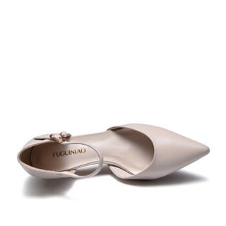 Fuguiniao 富贵鸟 女鞋鱼嘴高跟一字扣带中空时尚百搭K99P105C 米色 35