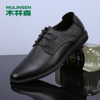 MULINSEN 木林森 韩版时尚简约头层牛皮商务休闲男皮鞋 SS97121 黑色 39码