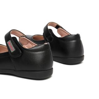 斯纳菲女童皮鞋 儿童真皮黑色公主鞋女孩单鞋新款小皮鞋18848黑色31