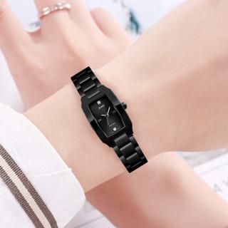 时刻美(skmei)手表女士时尚镶钻刻度学生石英表简约钢带腕表 1400黑色