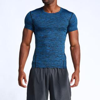 FANDIMU 范迪慕 健身运动服户外跑步训练速干休闲运动短袖T恤男  FNZ9001 深蓝色-单件短袖-XXXL