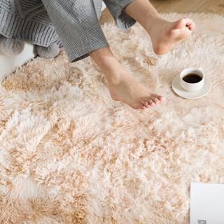 南极人NanJiren 地毯 客厅沙发茶几卧室床边圆形地垫 渐变驼色 直径100cm