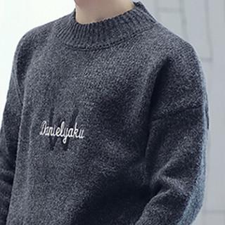 金盾(KIN DON)针织衫 新款男士时尚潮流加厚保暖圆领毛衣211-1-M9180深灰色2XL