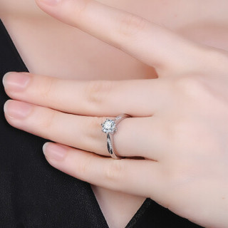 鸣钻国际 挚爱 白18k金钻戒女款 共约30分钻石戒指结婚求婚女戒 钻石对戒女款 F-G/SI 18号