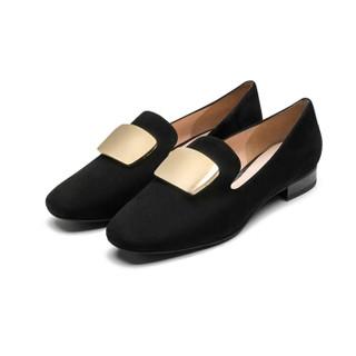le saunda 莱尔斯 时尚优雅通勤圆头套脚搭扣粗低跟女奶奶单鞋LS AM12903 黑色 36