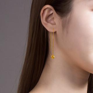 周六福 珠宝 玫瑰花足金耳饰黄金耳线耳坠 计价AA093006 约2.9g