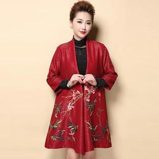 俞兆林 2019新款妈妈披肩外套中长款气质春秋装开衫 YWMM191323 红色 3XL