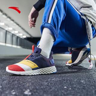ANTA 安踏 跑步系列 11915551 男鞋 2019年新款男子跑鞋潮流拼接撞色轻便绑带男跑鞋 深蓝黑/象牙白/姜黄 9(男42.5)