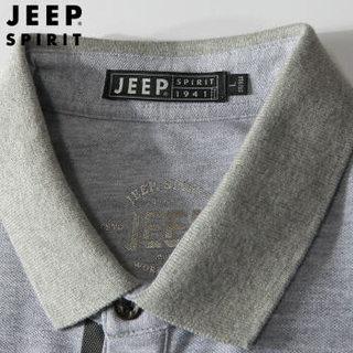 吉普 JEEP 男士Polo衫短袖T恤 男纯色棉质舒适男装翻领Polo衫 8077 蓝色 3XL