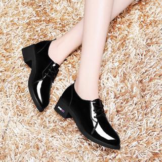 LAIKAJINDUN 莱卡金顿 韩版圆头系带低帮复古粗跟单鞋6561 黑色 35