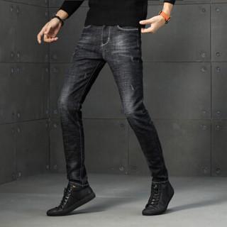 美国苹果 AEMAPE 牛仔裤男士2019春季新款修身裤子潮流商务休闲男装弹力时尚小脚裤 1831 黑色 34