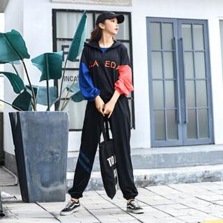 朵彩 2019新款撞色连帽女款运动服套装 宽松显瘦瑜伽服跑步长袖长裤套装 黑色 M