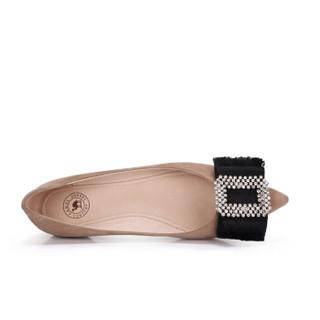 骆驼  A91042643 女士 轻熟温婉水钻尖头浅口单鞋 A91042643 杏色 40