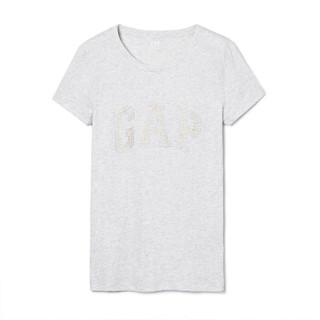 Gap旗舰店 女装棉质短袖T恤柔软弹力圆领内搭logo上衣女士打底衫 355266 光感杂灰 170/96A(M)