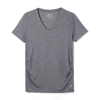 Gap旗舰店 女装 孕妇装GapFit系列 透气V领基本款运动T恤213550 石楠灰 160/80A(XXS)