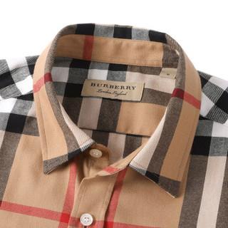 BURBERRY 巴宝莉 男士驼色棉质格纹长袖衬衫 80048811 S