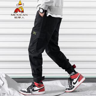 稻草人(MEXICAN)休闲裤男港风潮男宽松直筒裤子多口袋束脚工装裤男 K98 黑色 M