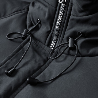 稻草人(MEXICAN)羽绒服男加厚保暖羽绒服连帽短款外套迷彩男士冬季新款防寒服面包服 黑色 3XL