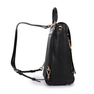 MICHAEL KORS 迈克·科尔斯 MK女包 EVIE系列 女士黑色皮革双肩背包 30S8GZUB2L BLACK