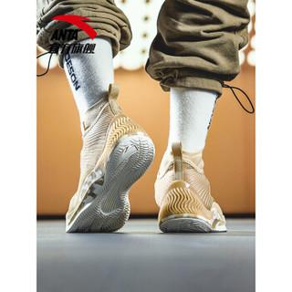 ANTA 安踏 篮球系列 11841303  皮面休闲运动鞋高帮战靴球鞋 燕麦灰/尘土灰/象牙白 8.5(男42)