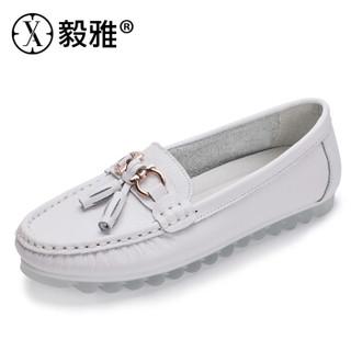 YIYA 毅雅 单鞋女流行复古小圆头百搭舒适平底欧美风金属装饰浅口套脚 303359 白色 40