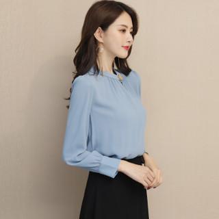 丝柏舍2019年女装新款春装时尚套头韩版淑女纯色打底衫雪纺衫 S81R0832SA195XL 蓝灰色 XL