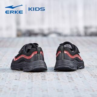 鸿星尔克(ERKE)童鞋男儿童运动鞋大童慢跑鞋 63119120055 正黑/大红 36码