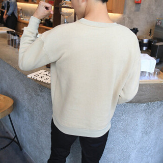 美国苹果 AEMAPE 卫衣男圆领上衣2019春装新品韩版纯色套头长袖T恤男士运动休闲打底衫 卡其色 XL