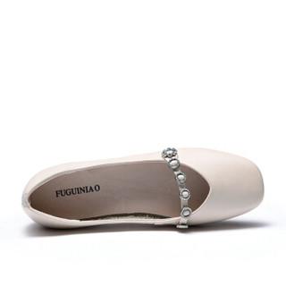 Fuguiniao 富贵鸟 女单鞋方头浅口简约时尚百搭F953305C 米白 35