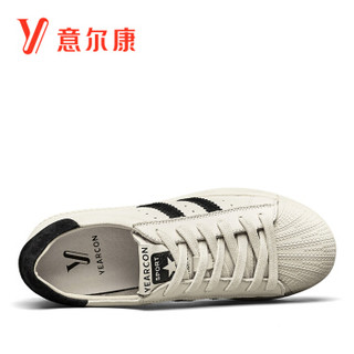 YEARCON 意尔康 女士休闲百搭韩版平底贝壳头板鞋单 8561ZD29957W 黑色 39