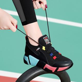 centenary 百年纪念 韩版时尚平底低帮系带拼色运动休闲鞋 1886 黑红 38