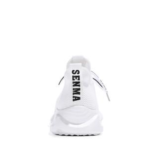 Semir 森马 休闲韩版慢跑透气舒适系带飞织户外运动鞋女 229115010 白色 36码