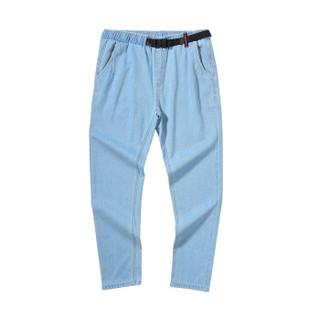 森马semir旗下品牌爱肯Aiken2019春季男款慢跑牛仔长裤AK119201913牛仔浅蓝XL